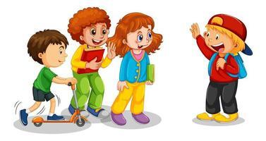 grupp små barn seriefiguren på vit bakgrund vektor