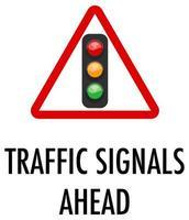 trafiksignaler framåt tecken på vit bakgrund