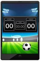Fußballspielnachrichten auf Tablet-Bildschirm isoliert