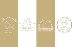 linjär stil skönhet emblem set