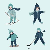 Wintersport Aktivität Zeichentrickfigur srt vektor