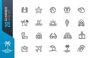 minimal sommar ikonuppsättning vektor