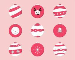 rote und weiße Weihnachtskugeln gesetzt