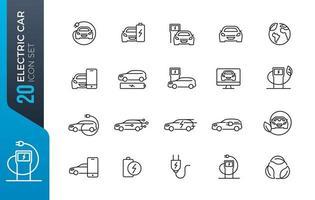 elbil ikonuppsättning vektor