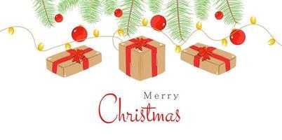 Frohe Weihnachten Design mit Gits, Lichtern und Ornamenten vektor