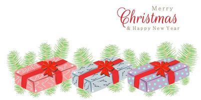 Frohe Weihnachten Neujahr 2021 Design mit Geschenken vektor