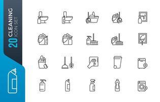 minimal rengöring ikonuppsättning
