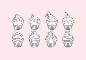 Vector Outline Cupcake Set