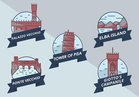 Ikonvektor av intressanta platser i Toscana