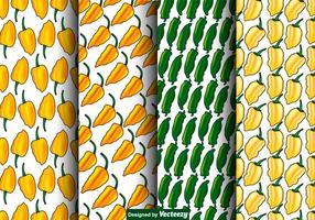Vector Set von nahtlosen Habanero Peppers Patterns