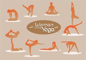 Frauen-Silhouette, die Yoga macht