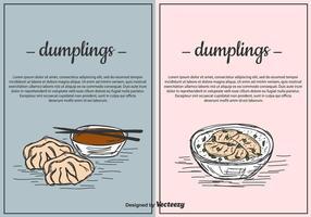 Dumplings Vector Background Set