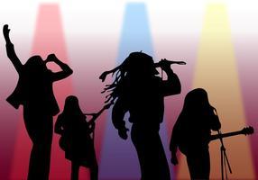 Silhouette Sänger Auf Bühne Vektor