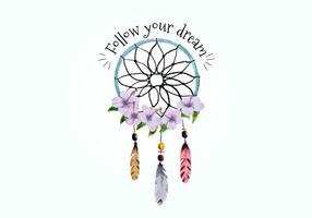 Boho Dream Catcher med fjädrar och lila blommor vektor