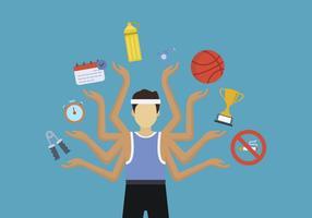 Flache Menschen Multitasking-Vektoren
