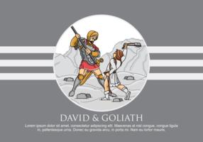 David och Goliath Vector Illustration