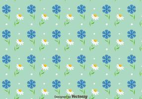 Blubonnet und Kamille Blumen Muster Vektor