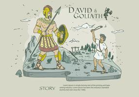 David och Goliath Story Hand Drawn Vector Illustration