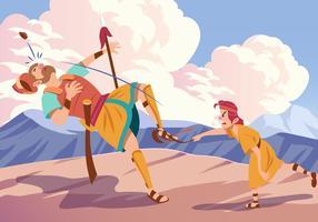 David und Goliath kämpfen vektor