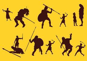 David och Goliath Silhouette Story Gratis Vector