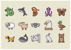 Pack av animaliska ikoner vektorer