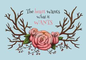 Aquarell Hörner mit rosa Blumen mit Zitat Vektor