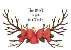 Aquarell Hörner mit roten Blumen und Motivation Zitat Vektor