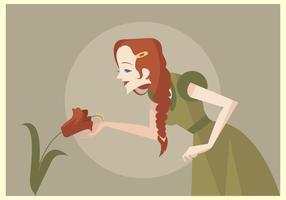 Unga vackra kvinnor med rött flätat hårvektor vektor