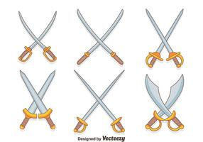 Handgezogene Kreuzschwert Vektoren