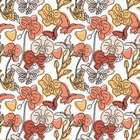 nahtloses Muster von Orchideen und Schmetterlingen
