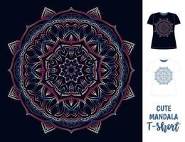 dunkles Frauen-T-Shirt mit buntem Mandala vektor