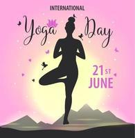 världsdag yoga design med kvinna silhoeutte och solnedgång