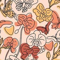 orkidéer och fjärilar sömlösa mönster vektor