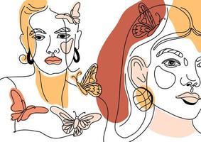 uppsättning kvinnliga ansikten, minimal linjestil vektor