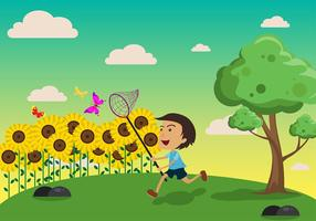 Butterfly Net Kids Gratis Vector