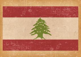 Old Grunge Flag of Lebanon vektor