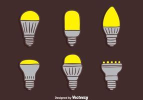 Handdragna Led Light Lamp Collection Vectors