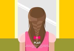 Flicka med Plait Bakgrund Vector