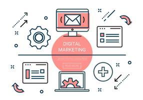 Gratis linjära digitala marknadsföringselement vektor
