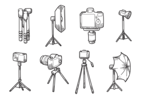 Free Hand Drawn Kamera Stativ Vektoren