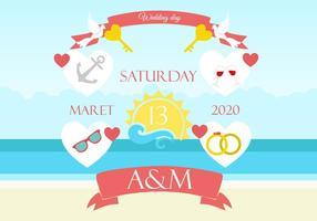 Freie Strand-Hochzeits-Hintergrund-Einladung
