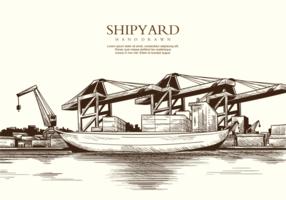 Freie Hand gezeichnete Werft Vektoren