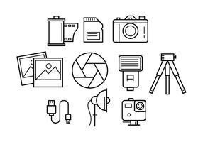 Gratis fotografi linje ikon vektor