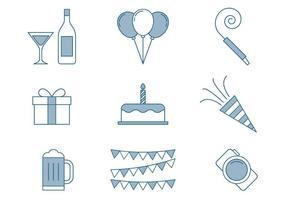 Födelsedag ikoner tunna linjesats