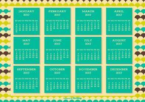 Netter Retro Art 2017 Kalender-Hintergrund