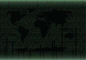 Grüne Weltkarte Matrix Hintergrund Vektor