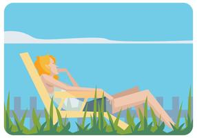 Flicka avslappnande i en gräsmatta vektor