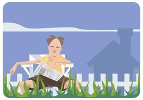Alter Mann Schlafen in einem Rasen Stuhl Vektor