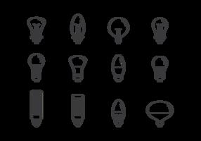 LED lampor ikoner vektor