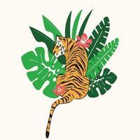 Hand gezeichneter Tiger mit exotischen tropischen Blättern